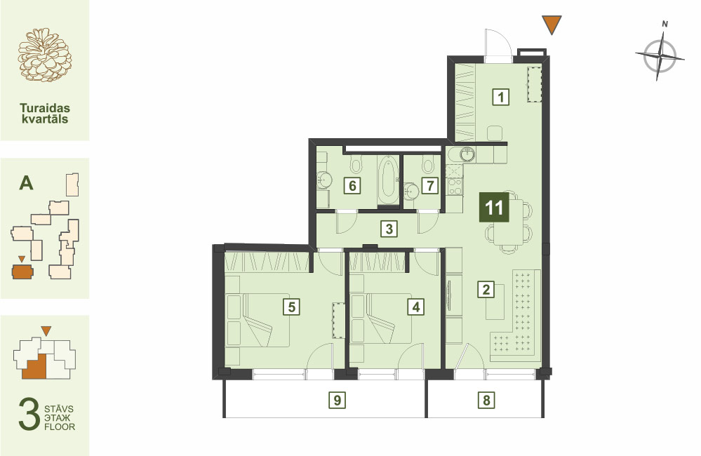 Plan for the Apartment Nr.11, Turaidas street 17, section A, Jurmala