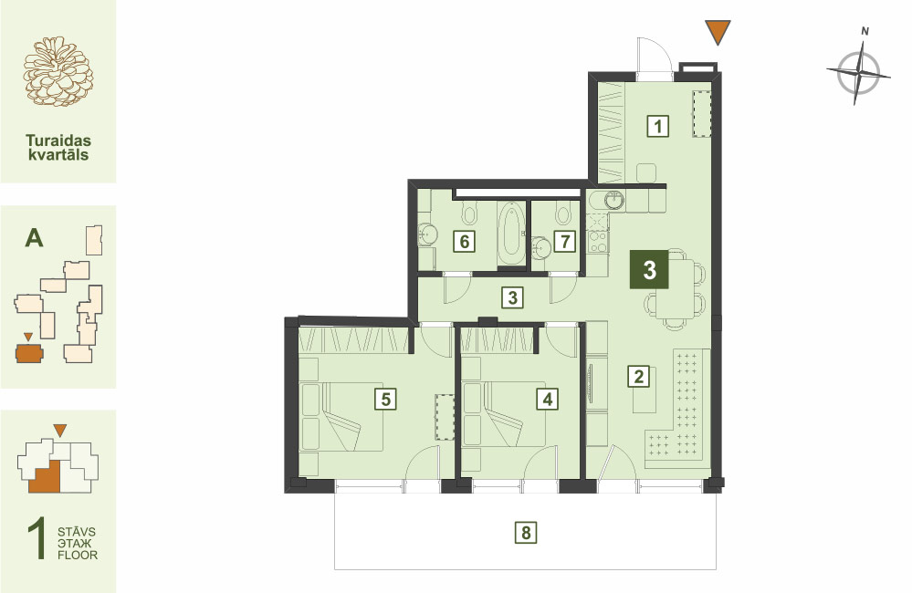 Plan for the Apartment Nr.3, Turaidas street 17, section A, Jurmala