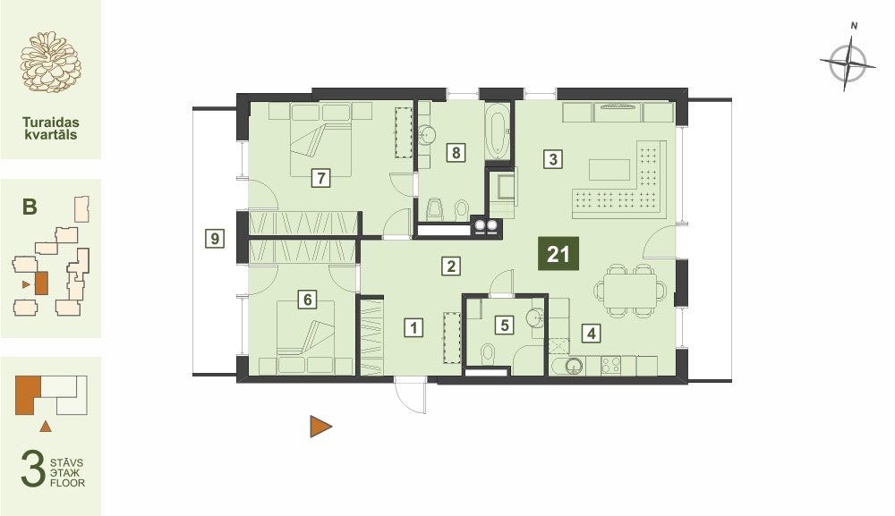 Plan for the Apartment Nr.21, Turaidas street 17, section B, Jurmala