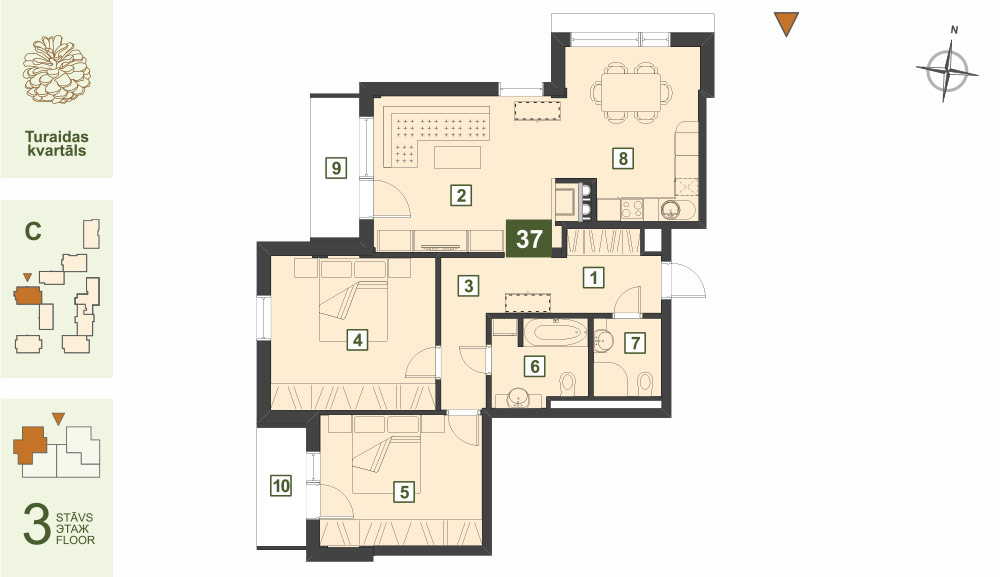 Plan for the Apartment Nr.37, Turaidas street 17, section C, Jurmala
