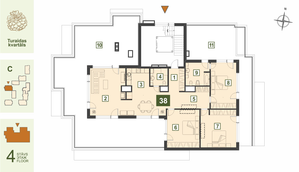 Plan for the Apartment Nr.38, Turaidas street 17, section C, Jurmala