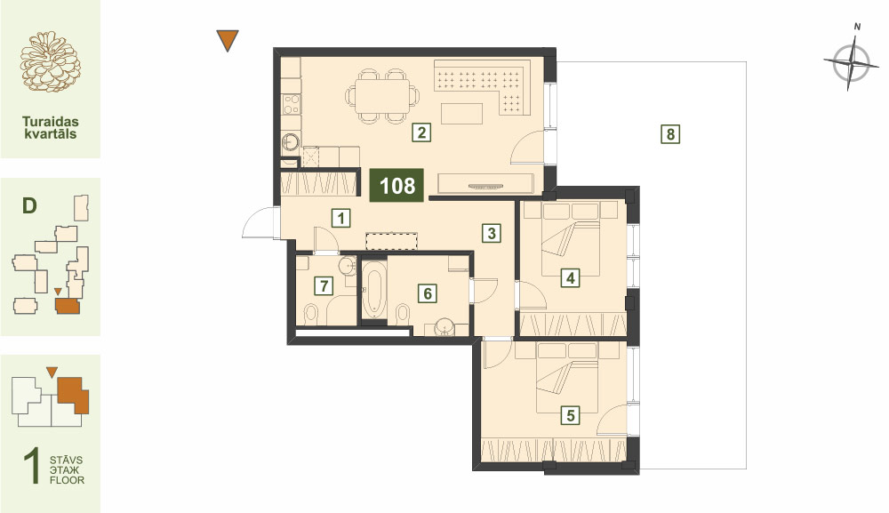 Plan for the Apartment Nr.108, Turaidas street 17, section D, Jurmala