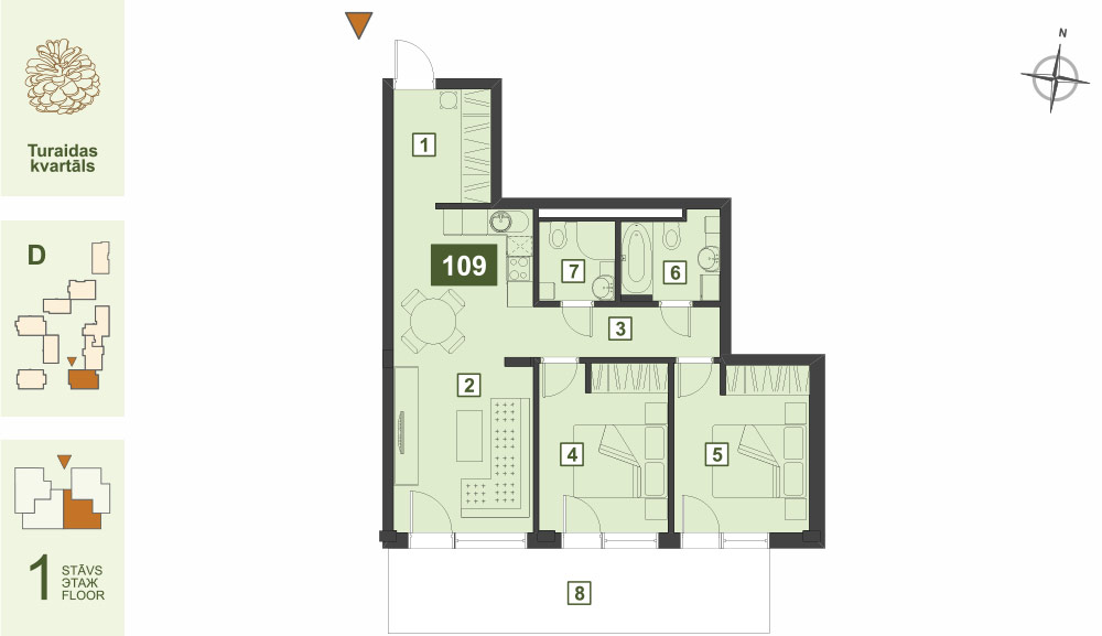 Plan for the Apartment Nr.109, Turaidas street 17, section D, Jurmala