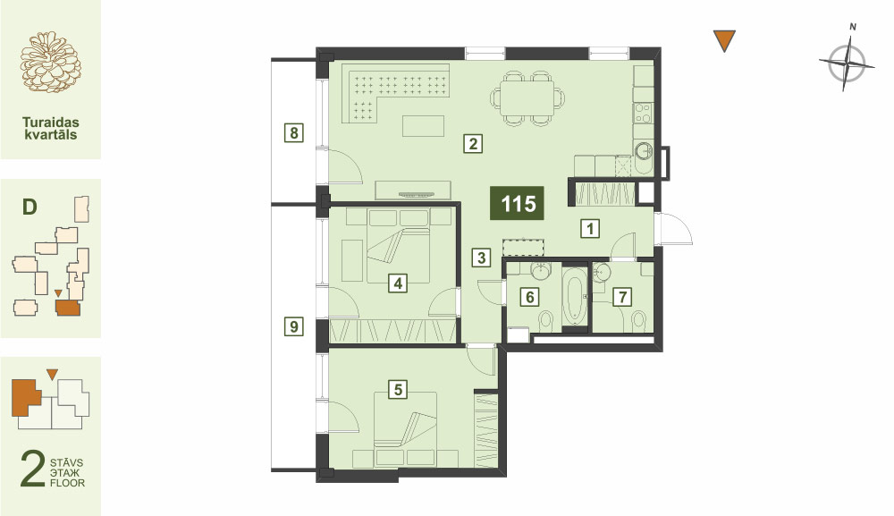 Plan for the Apartment Nr.115, Turaidas street 17, section D, Jurmala