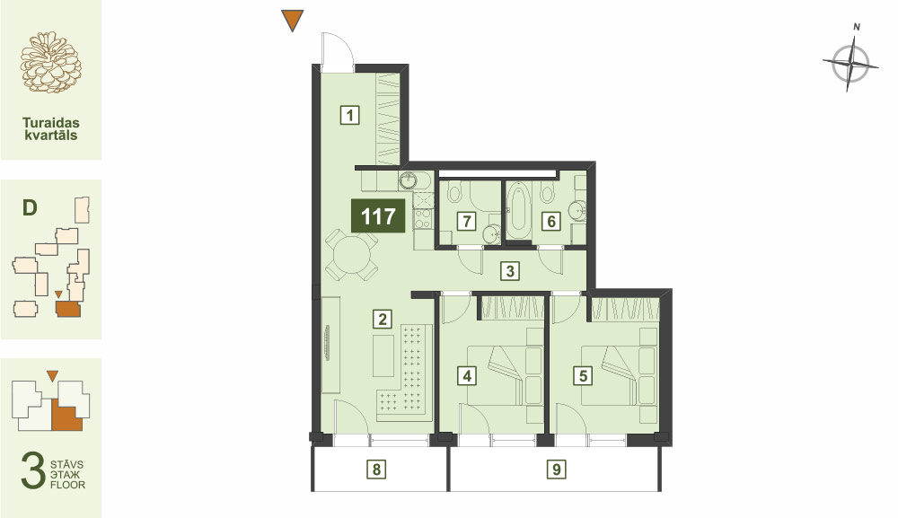 Plan for the Apartment Nr.117, Turaidas street 17, section D, Jurmala