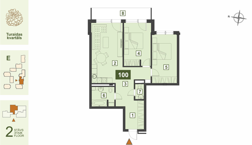Plan for the Apartment Nr.100, Turaidas street 17, section E, Jurmala