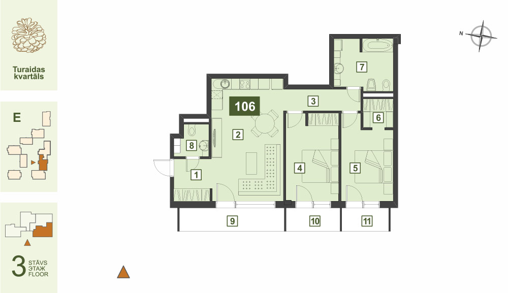 Plan for the Apartment Nr.106, Turaidas street 17, section E, Jurmala