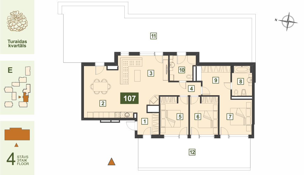 Plan for the Apartment Nr.107, Turaidas street 17, section E, Jurmala