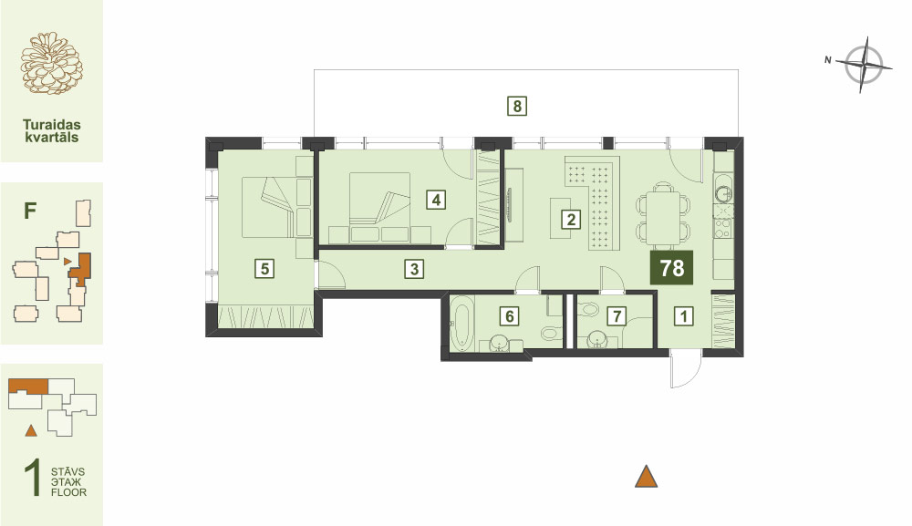 Plan for the Apartment Nr.78, Turaidas street 17, section F, Jurmala