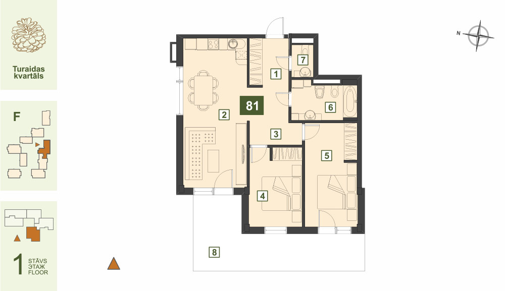Plan for the Apartment Nr.81, Turaidas street 17, section F, Jurmala