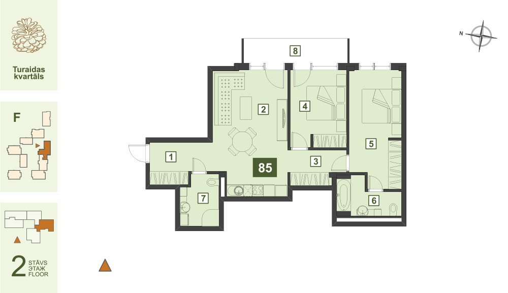 Plan for the Apartment Nr.85, Turaidas street 17, section F, Jurmala