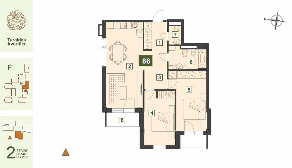 Plan for the Apartment Nr.86, Turaidas street 17, section F, Jurmala