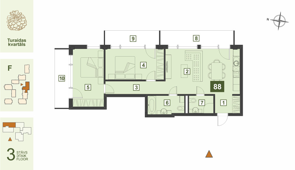Plan for the Apartment Nr.88, Turaidas street 17, section F, Jurmala