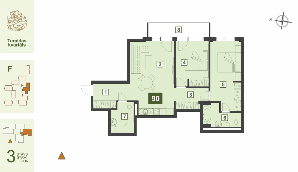 Plan for the Apartment Nr.90, Turaidas street 17, section F, Jurmala