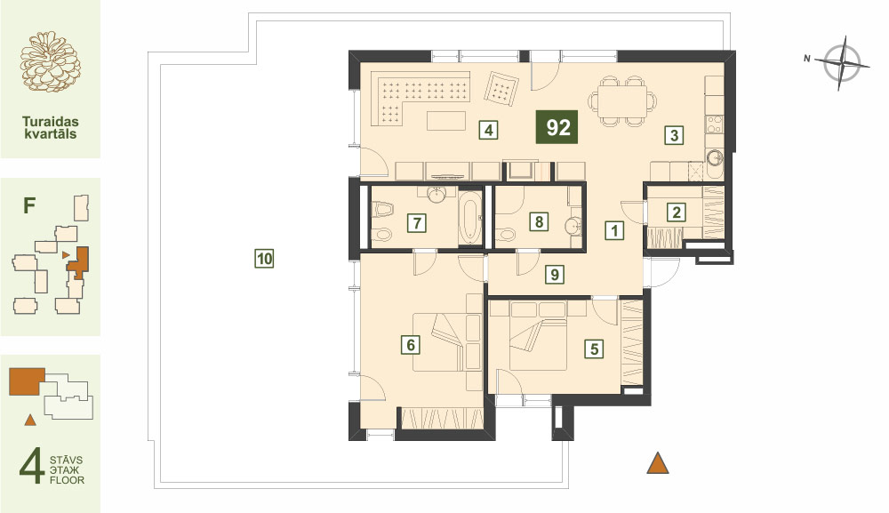 Plan for the Apartment Nr.92, Turaidas street 17, section F, Jurmala