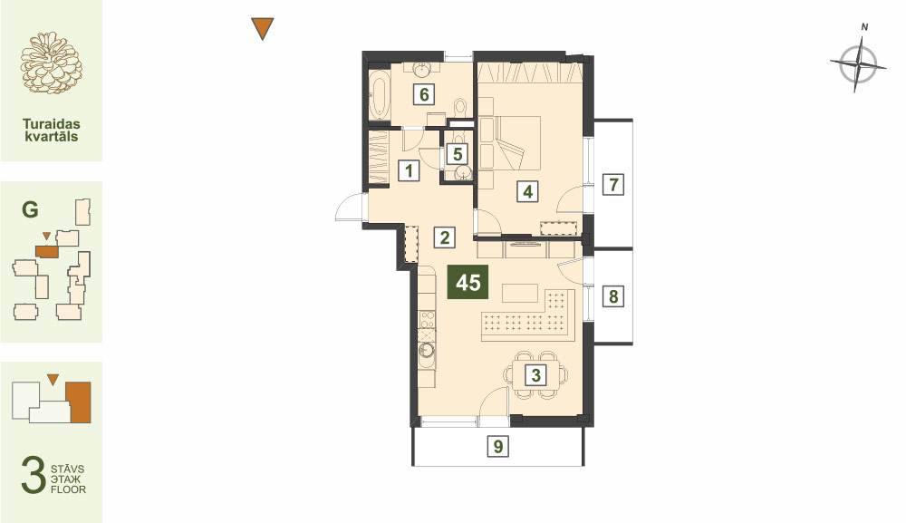 Plan for the Apartment Nr.45, Turaidas street 17, section G, Jurmala