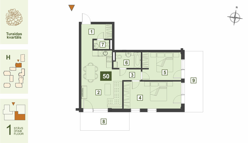 Plan for the Apartment Nr.50, Turaidas street 17, section H, Jurmala