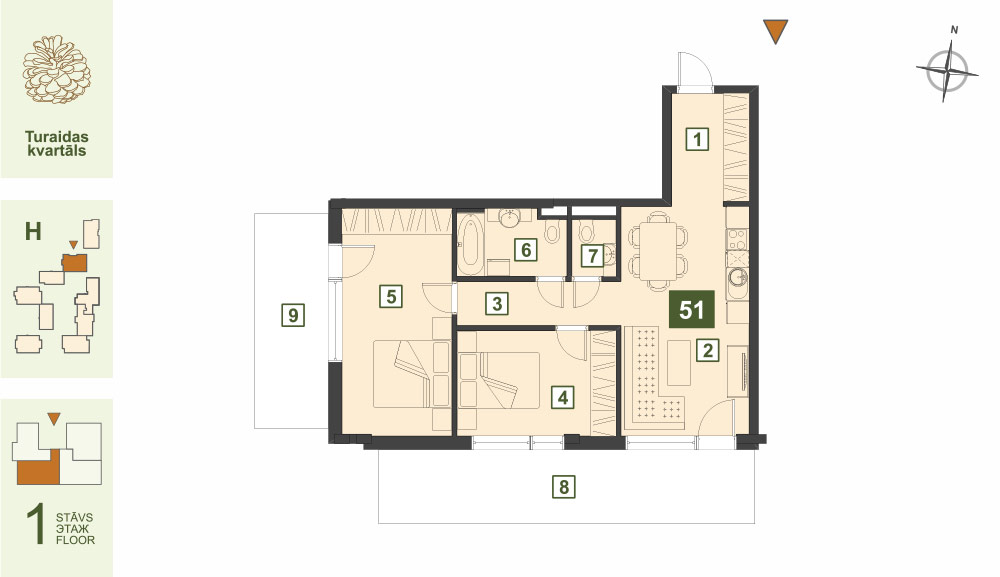 Plan for the Apartment Nr.51, Turaidas street 17, section H, Jurmala