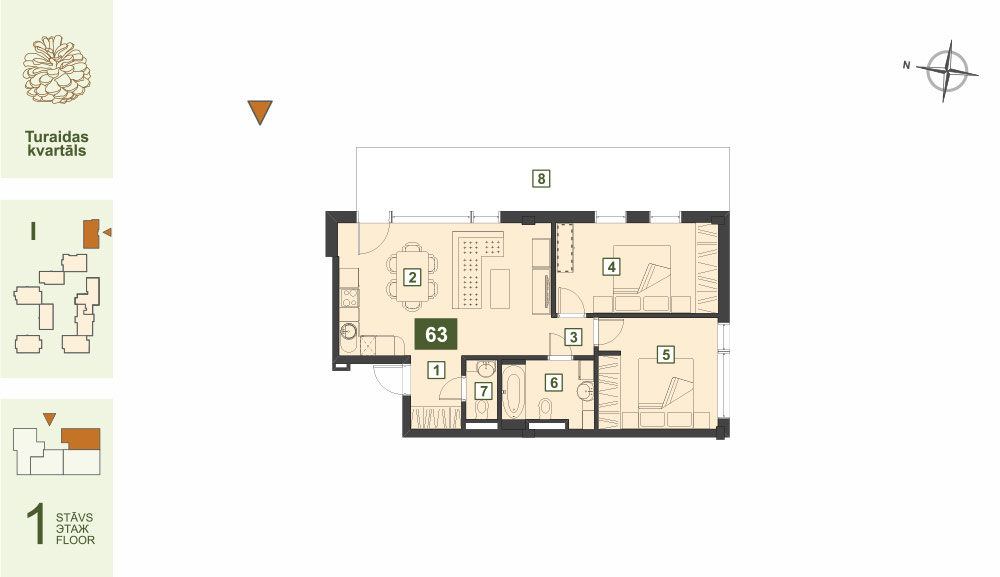 Plan for the Apartment Nr.63, Turaidas street 17, section I, Jurmala
