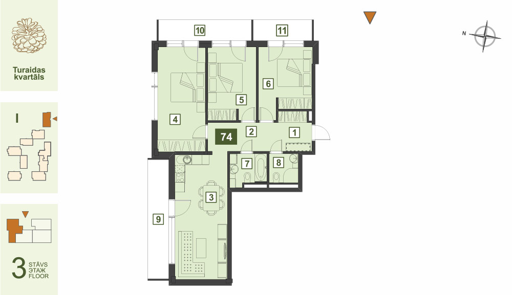 Plan for the Apartment Nr.74, Turaidas street 17, section I, Jurmala
