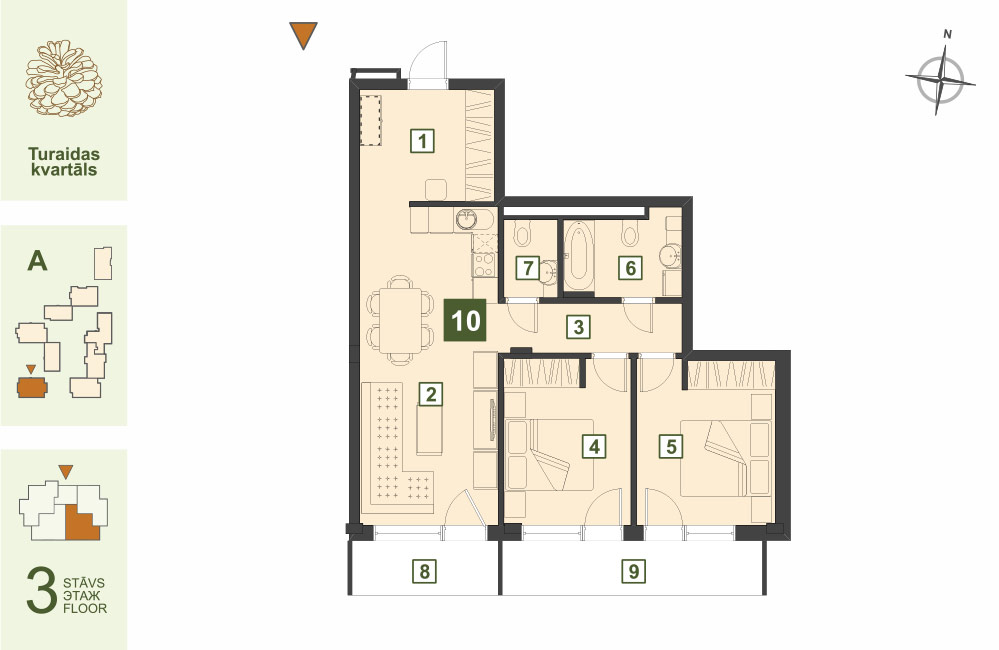 Plan for the Apartment Nr.10, Turaidas street 17, section A, Jurmala