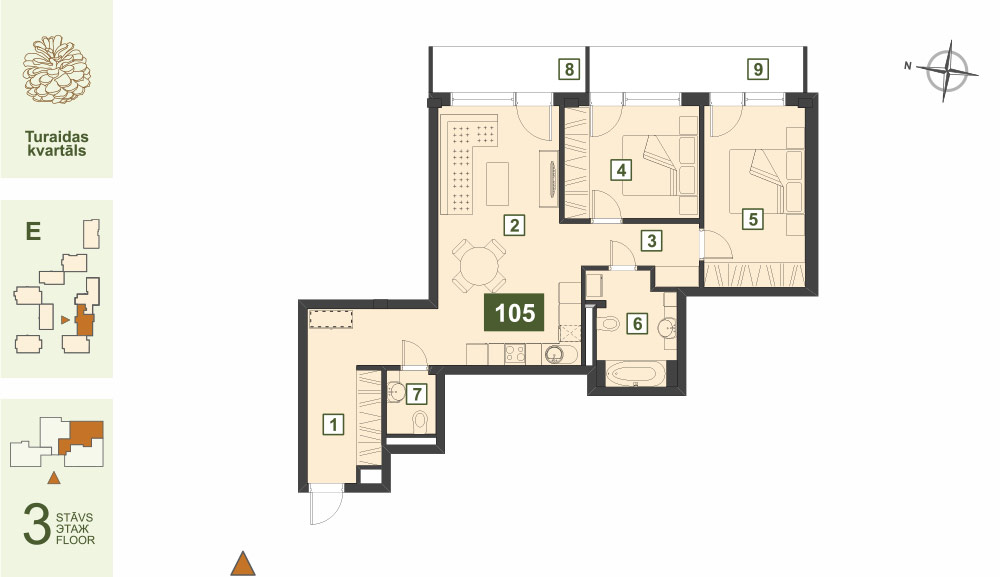 Plan for the Apartment Nr.105, Turaidas street 17, section E, Jurmala