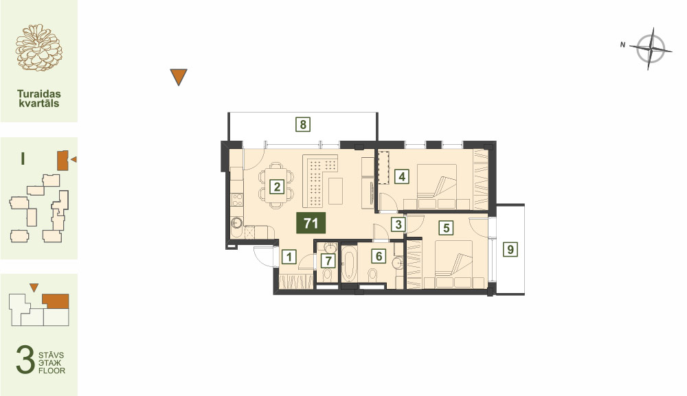 Plan for the Apartment Nr.71, Turaidas street 17, section I, Jurmala