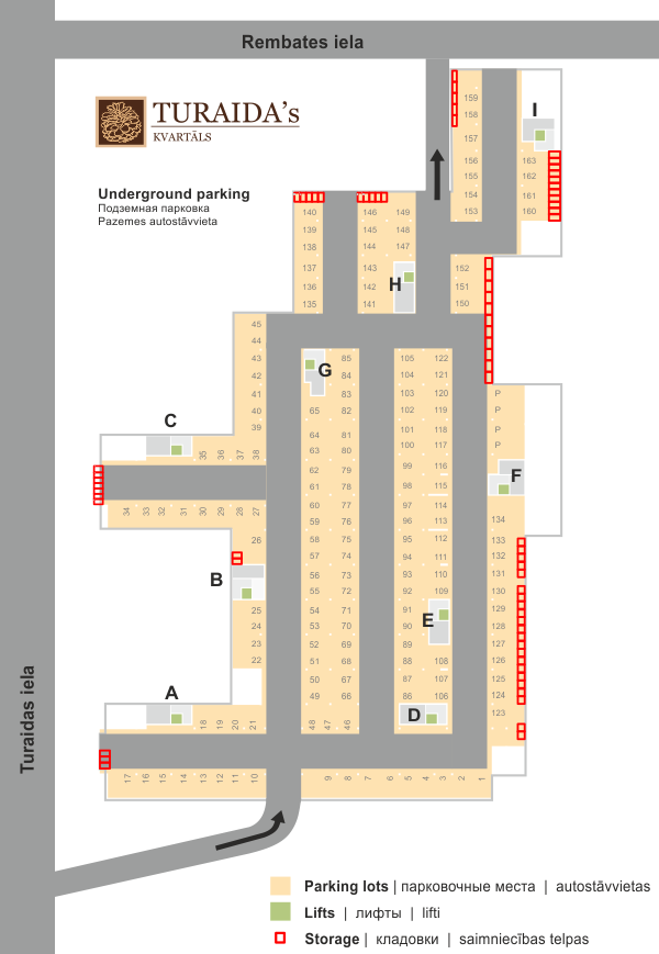 The underground parking lot's plan of the resort complex Turaidas Kvartals